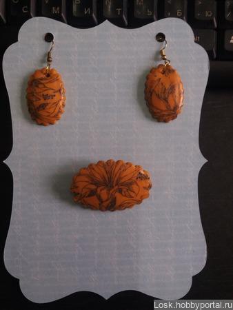 """Комплект """"Оранжевые лилии"""" ручной работы на заказ"""