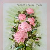 """Панно лентами """"Розовые розы"""""""