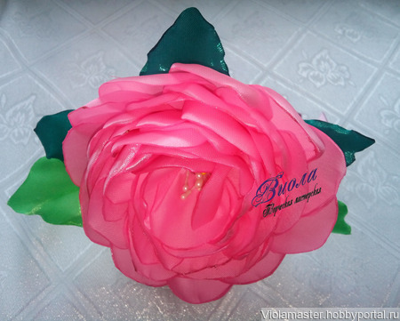 "Ободок канзаши ""Роза"" ручной работы на заказ"