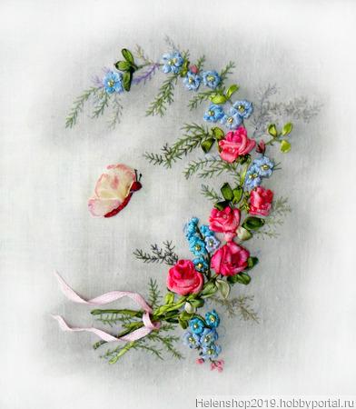"Панно вышитое лентами ""Розовые грёзы"" ручной работы на заказ"