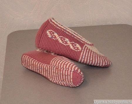 Тапочки-следочки тунисским крючком ручной работы на заказ