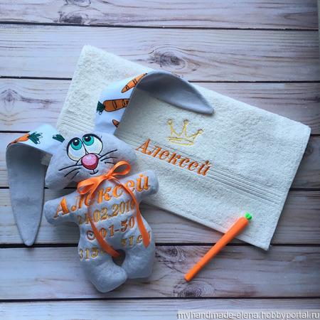 Зайчик-метрика и полотенце ручной работы на заказ