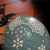 Резное страусиное яйцо с подсветкой