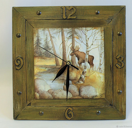 Часы настенные - подарок мужчине-охотнику ручной работы на заказ
