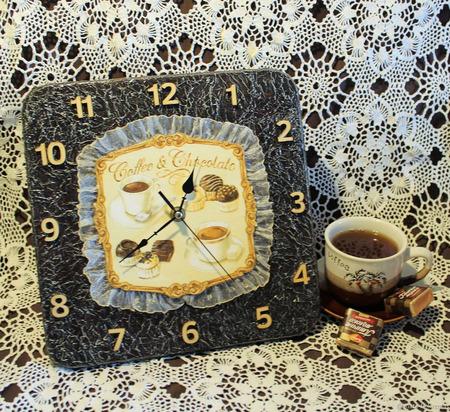 """Оригинальные часы """"Кофе и шоколад"""" ручной работы на заказ"""