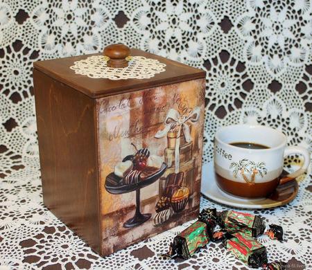 """Короб для кофе, чая, сладостей """"Шоколадный десерт"""" ручной работы на заказ"""