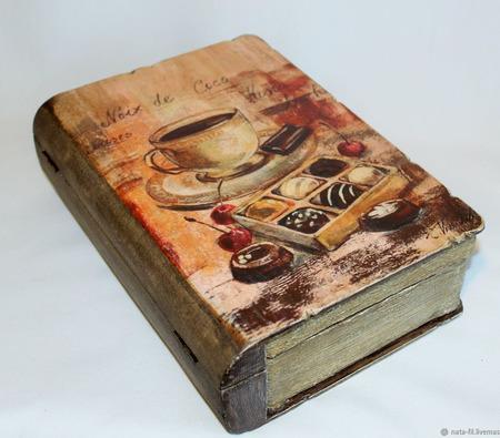 """Коробка для хранения рецептов """"Кофе и шоколад"""" ручной работы на заказ"""