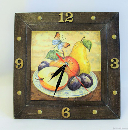 """Часы на кухню """"Фруктовые Часы"""" в подарок ручной работы на заказ"""
