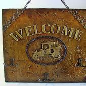 """Ключница настенная в стиле лофт """"Welcome"""""""