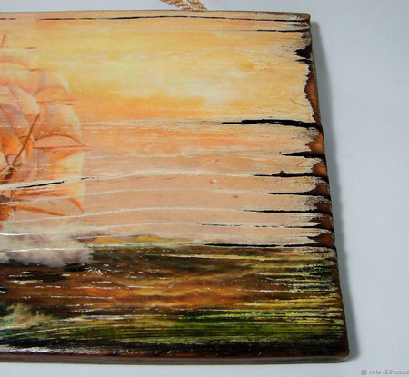 """Картина на дереве """"Парусник"""" ручной работы на заказ"""