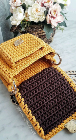 Вязаная сумка с карманом ручной работы на заказ