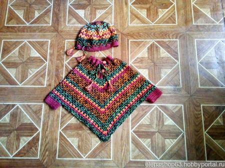 Пончо вязаное для девочки ручной работы на заказ