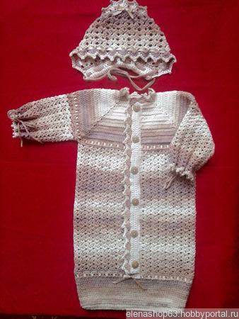 Комплект для новорожденного вязаный ручной работы на заказ