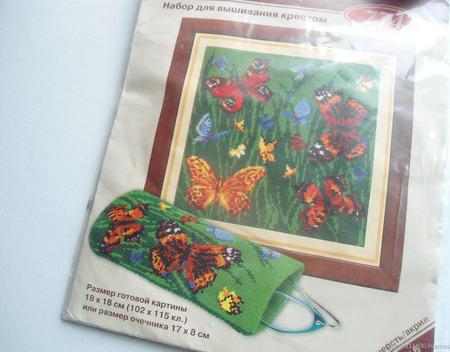 """Набор для вышивки """"Бабочки и маки"""" ручной работы на заказ"""