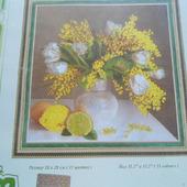 """Рисунок для вышивания бисером """"Мимоза и тюльпаны"""""""