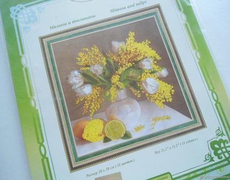 """Рисунок для вышивания бисером """"Мимоза и тюльпаны"""" ручной работы на заказ"""