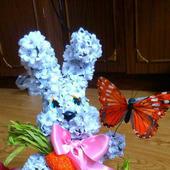 Цветочный Зайка из искусственных цветов