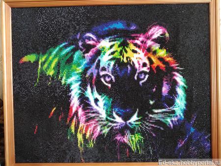 """Картина-антистресс """"Радужный лев"""" ручной работы на заказ"""