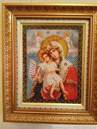 Икона Богородица Милующая ручной работы на заказ