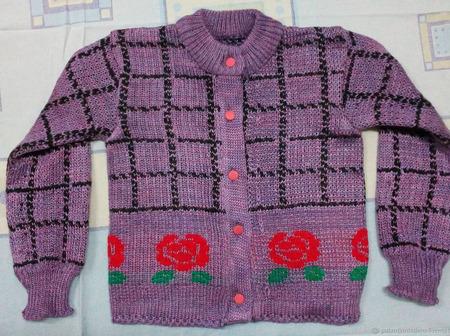 Сиреневая кофточка для девочки ручной работы на заказ