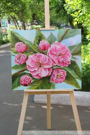 """Картина маслом """"Яблоня в цвету"""" ручной работы на заказ"""