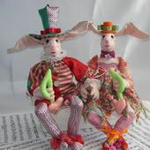 Скульптурно-текстильные куклы Клоуны-музыканты