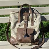 """Женская сумка из текстиля и натуральной кожи """"Марта"""" бежевая"""