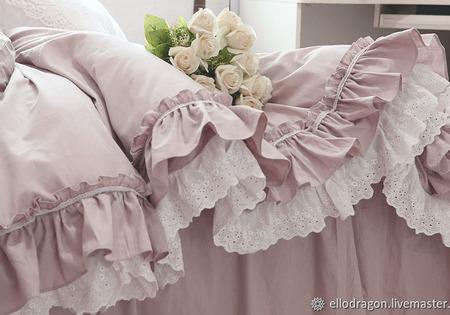 Постельное белье с подзором в стиле шебби-шик ручной работы на заказ
