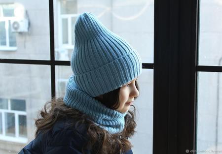 Комплект шапка + снуд ручной работы на заказ
