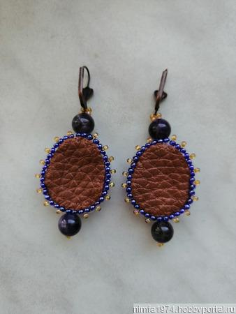 Серьги аметистовые с натуральными камнями ручной работы на заказ