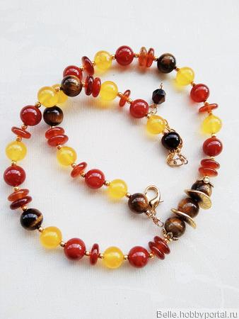 Ожерелье с сердоликом, тигровым глазом и халцедоном ручной работы на заказ