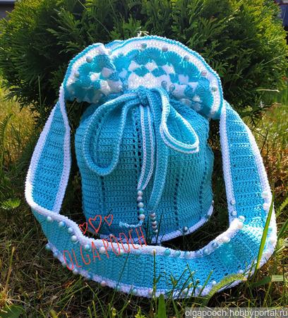 """Летний комплект для девочки """"Бирюза"""": панамочка и сумочка ручной работы на заказ"""