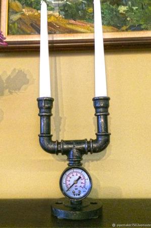 Подсвечники в стиле Loft, Steampunk из водопроводных фитингов ручной работы на заказ
