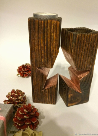 "Подсвечник Wood Style ""Звезда"" ручной работы на заказ"