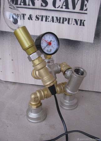 Светильник из водопроводных труб лофт/стимпанк ручной работы на заказ