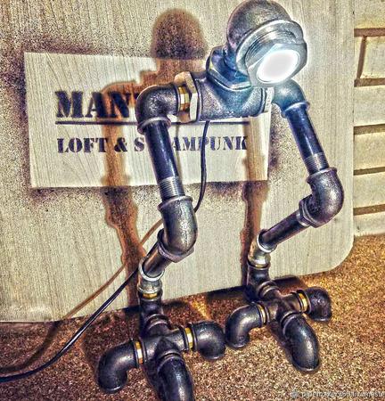 «Ти-рекс» - светильник из водопроводных труб в стиле Loft/steampunk ручной работы на заказ