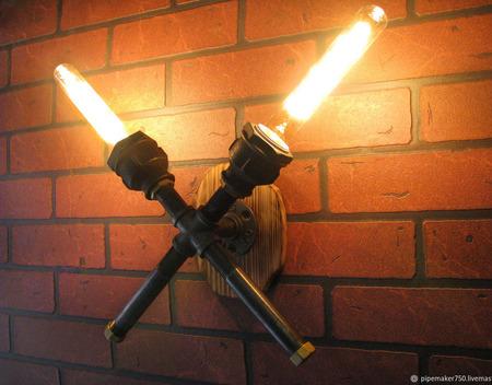 Настенный светильник в стиле Лофт/Стимпанк/Индастриал ручной работы на заказ