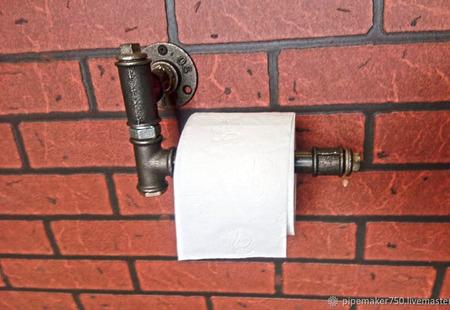 Держатель для туалетной бумаги Лофт из водопроводных труб ручной работы на заказ