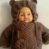 """Вязаный костюм для малыша """"Ми-ми-мишка"""""""