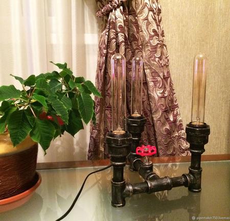 """Светильник """"Трио"""" в стиле Лофт из водопроводных труб ручной работы на заказ"""