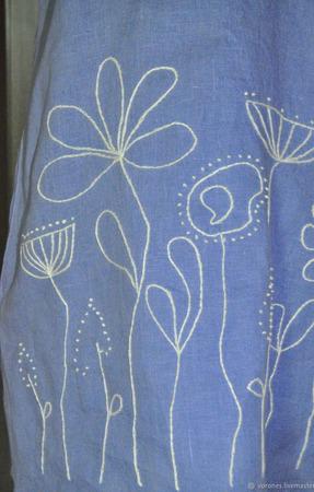 Льняное платье с ручной вышивкой ручной работы на заказ