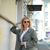 Льняное пальто цвета хаки