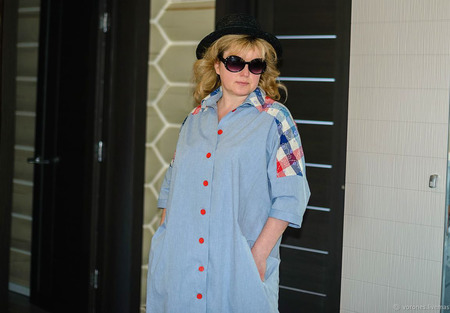 Платье рубашка из хлопка ручной работы на заказ