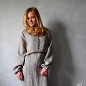 Платье длинное меланжевое изо льна в стиле хиппи