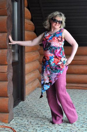 Летние брюки пурпурного цвета ручной работы на заказ