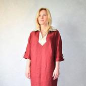 Платье льняное комбинированное