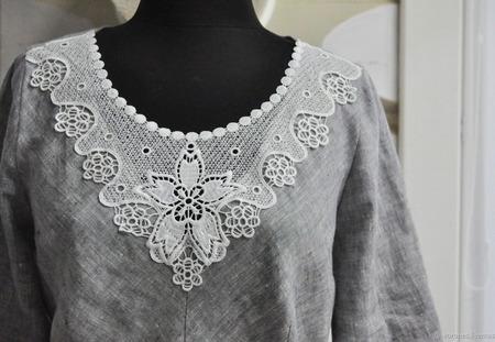 Платье с кружевом макси ручной работы на заказ