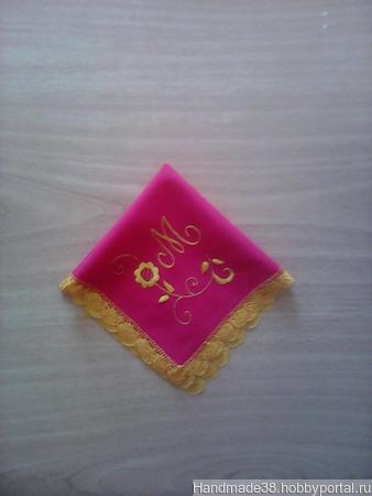 """Комплект платочков, буква """"М"""" (2 шт.) ручной работы на заказ"""