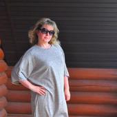 Платье-туника из трикотажа, свободный стиль