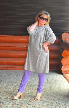 Платье-туника из трикотажа, свободный стиль ручной работы на заказ